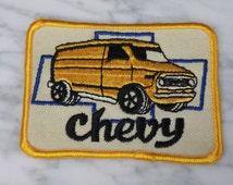 Vintage DeadStock Patch - Super Van - Chevrolet - Chevy - Blue - Yellow - White - Caravan - Truck - Shorty - G10 - G20 - G Series - E350