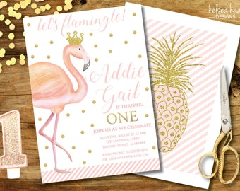 Flamingo Birthday Invitation,  Pink and Gold, Printable, 5x7, DIY, 1st Birthday, Let's Flamingle, Girls birthday, Gold Flamingo, Flamingo