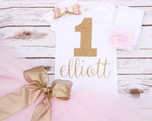 Baby Girl Gold and Pink Personalized First Birthday Outfit With Custom Glitter Appliqué Onesie, Matching Tutu, Glitter Hair Bow & Legwarmers