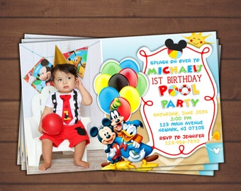 Mickey Mouse Pool Party Invitation