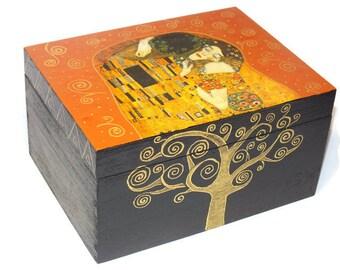 Jewelry box/Decoupage wooden box/ Gustav Klimt