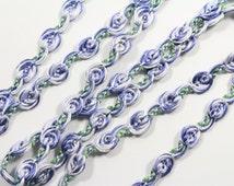 """2yds 1/4""""W Violet Purple Blue Rosette Guimp Trim, Gimp Trim, Floral Braid Trim, Flower Rose Gimp Braid Trim, Braided Gimp Trim, Rosebud Trim"""
