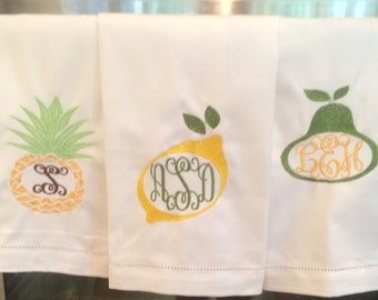 Fruit Embroidered Monogrammed Linen Hemstitch Towels--Pineapple, Lemon or Pear