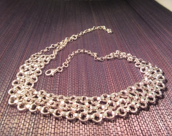 Rustic Sterling Silver Three Strand Necklace