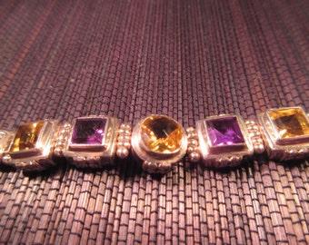 Heavy Retro Sterling Silver Multi Gemstone Bracelet MLO
