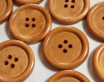 25pcs Wooden Buttons - Light Wood Buttons 25mm - Sewing Buttons - Buttons Large - 4 Hole Buttons  - B19497H
