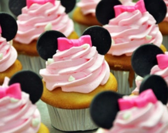Minnie Mouse Ears / Bows Fondant Cupcake Toppers