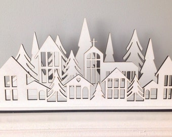 Christmas winter village tea light holder laser cut decoration