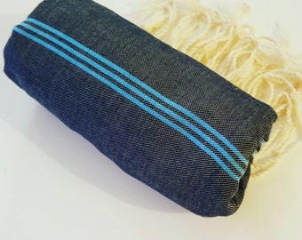 Fouta towel beach silver stripe 100% cotton