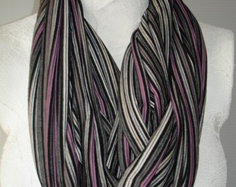 Infinity Scarf - Grey and Pink Pinstripe Infinity Scarf - Striped Infinity Scarf - Lightweight Scarf - Casual Scarf