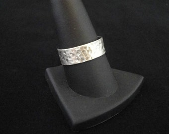 Modern Hammered Sterling Silver Wedding Ring/Ring/Stackable Ring