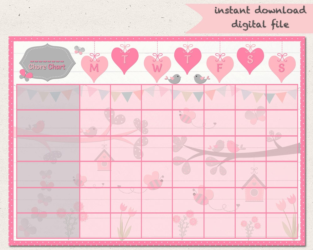 evening routine birdie chore chart butterfly reward chart girls jobs birds hearts routine chart printable a4 behaviour chart