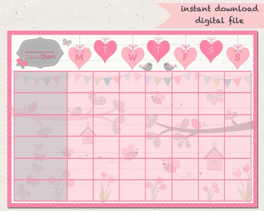 evening routine birdie chore chart butterfly reward chart girls jobs birds hearts routine chart printable a4 behaviour chart