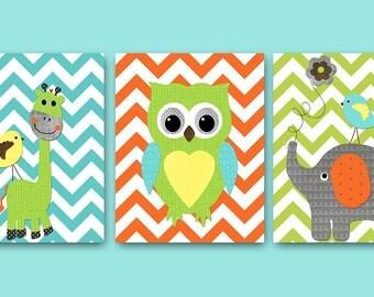 Gray Blue Elephant Giraffe Owl Nursery Decor INSTANT DOWNLOAD Art Digital Art Baby Boy Nursery Art Digital Download Art Set of 3 8x10 11X14