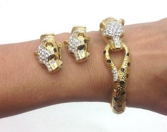 Atwood 60s Gold Rhinestone Leopard Bracelet & Earrings | Costume Jewelry