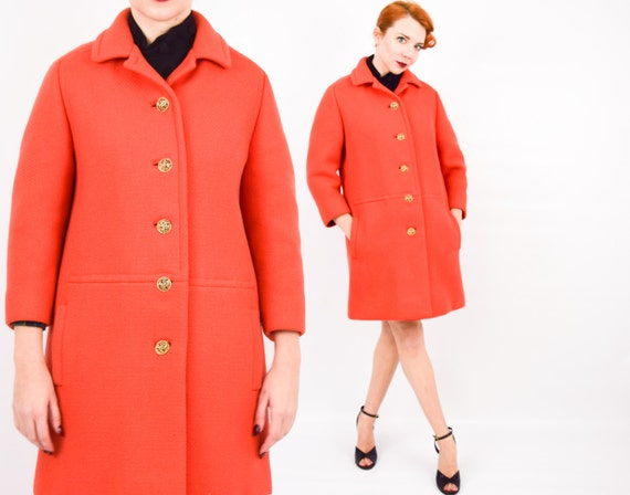 60s Persimmon Orange Wool Coat | Heavy Winter Coat | Renbrook | Medium