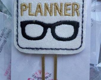 Gold Planner Nerd Geek Glasses Paper Clip