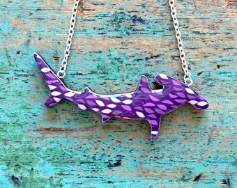 Shark Necklace / Great Hammerhead Shark Necklace - Purple Leaves