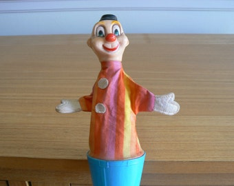 Cute, Vintage 1960s Pop Up Clown Toy - Made in Hong Kong.