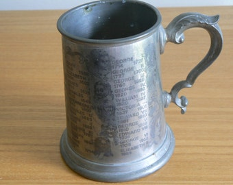 Pinder Bros Pewter Tankard Showing Kings and Queens of Britain from 1066 - the Present Day.