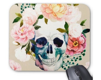Skull with Flowers Print Mouse Pad, Colorful Day of the Dead Mexican Pastel Watercolor Mousepad