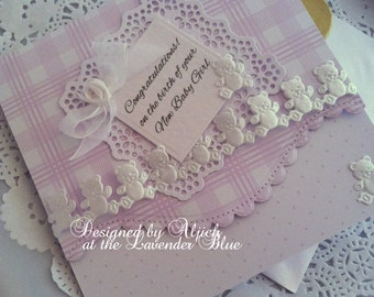 baby Girl card, New baby Girl, New baby, Congratulations, Personalized, Handmade