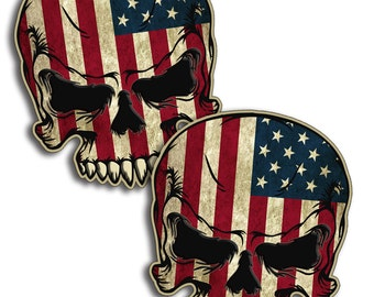 USA Rustic Vintage Skull Vinyl Sticker Decal with Flag Graphic Face America 2nd Amendment Gun Control Permit PAIR