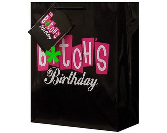 The B*tch's Birthday Gift Bag, Giftbag, Happy Birthday, Giftwrap, Gift Wrap, Black, Milestone, Funny, Rude, Humorous, Sassy, Curse Word Cuss