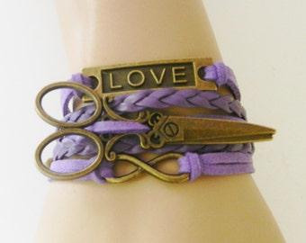 CHARM BRACELET Hair Stylist Hair Dresser Beauty Salon Women's Jewelry Love-Infinity-Scissors-Comb Purple Adjustable Bracelet