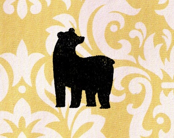 Bear Stamp - Wood Mounted Black Bear Silhouette Rubber Stamp