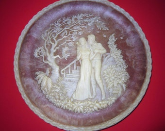 The Kiss Sculptured Plate, Baroque Cameo Art Plate, The Romantic Poets Collection, Incolay Stone