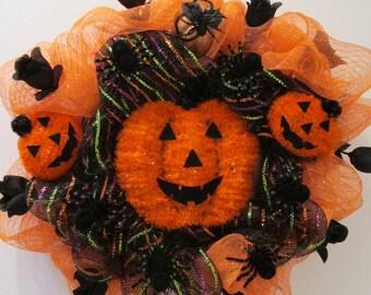 Orange & Black Deco Mesh Halloween Wreath