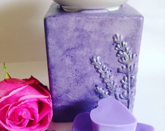 Lavender oil burner, lavender wax melts, heart wax melts, oil burner and melts gift set, relaxation gift idea, new mum gift, gift for friend