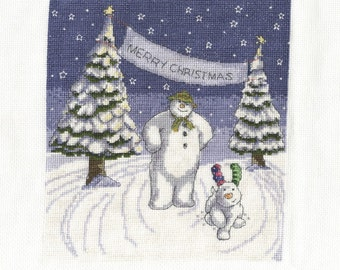 DMC BL1100/64 The Snowman and the Snowdog - Merry Christmas Cross Stitch Kit