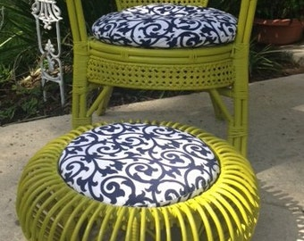 Rattan Caned Chair with Matching Ottoman