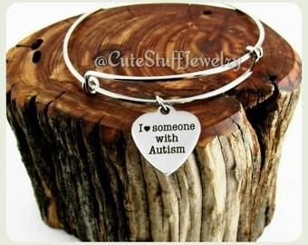 I love someone with Autism Bracelet, Autism Awareness Bracelet,  Autism Awareness Bangle, I heart someone with Autism Awareness Jewelry,