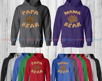 Mama Bear & Papa Bear - Matching Couple Hoodie - His and Her Hoodies - Love Sweaters