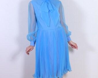 Stunning 1960s Blue Chiffon Pleated Dress