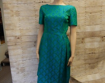 1950's gorgeous Blue and Green Floral dress