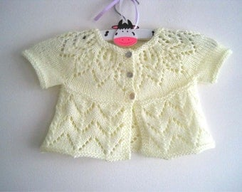 Polly Cardi - Knitting Pattern - Baby girl to age 6 cardigan - Instant Download PDF