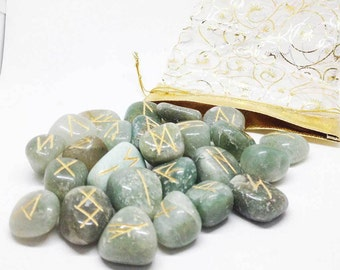 GREEN AVENTURINE Runes Set for reiki healing, complete with pouch wicca pagan spirituality rune stones tumbled stones