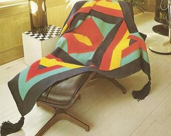 "Geometric Afghan Crochet Pattern Modern Design Throw Blanket Home Decor 68"" x 70"""
