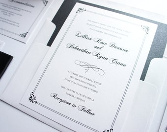 Formal Wedding Invitation - Black Wedding Invitation, Formal Wedding Invites, Elegant, Formal Wedding Invitation - Deposit