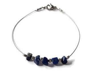 Natural stone bracelet, lapis lazuli jewelry, lapis lazuli bracelet, stone jewelry, dainty bracelet, simple bracelet, silver bracelet shiny