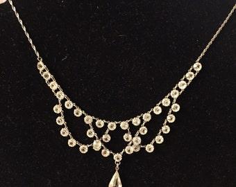 1930's Necklace open back crystal festoon