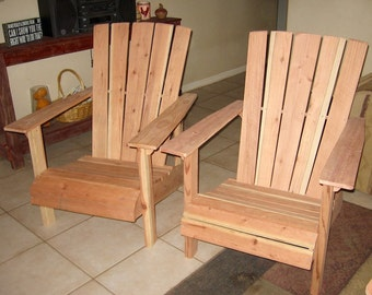 Contemporary Style Adirondack Chair Hand Made, Redwood, Super Comfortable, Outdoor, Weatherproof, Rustic, Cabin Furniture