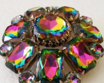 Vintage HUGE Unsigned Gorgeous Watermelon Rhinestone Brooch Pin Possibly Juliana