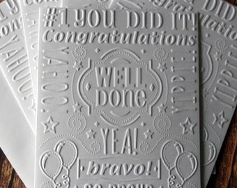 Congratulations Cards, Set of 5, White Embossed Congratulations Note Cards, Graduation Cards, Bravo, Well Done, College Graduation Cards