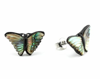 "Hand Carved - ""Monarch Butterfly"" - Horn with Abalone Inlay Stud Earring - Rainforest"