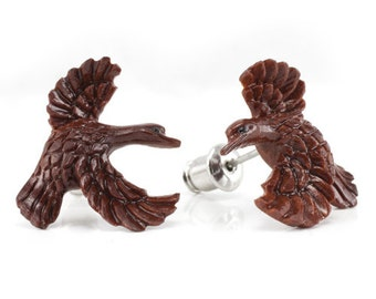 "Hand Carved - ""Ducky"" - Wood Stud Earring - Urban Star Originals"